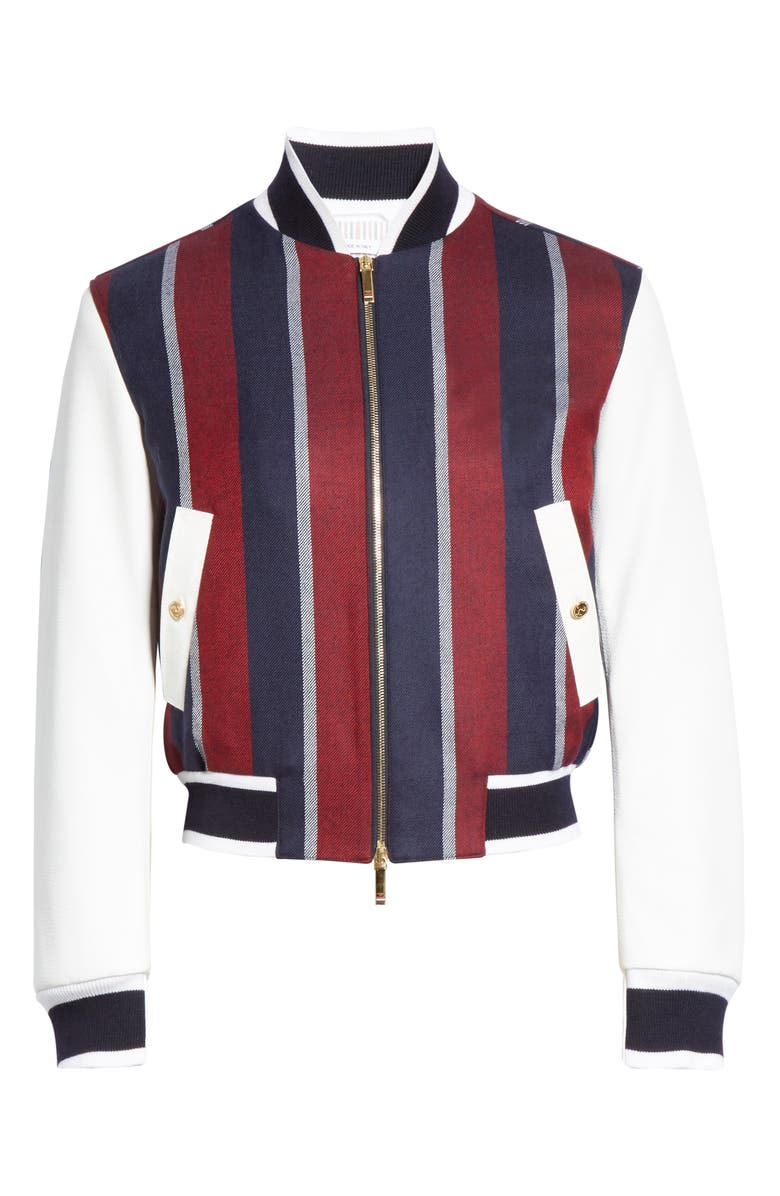 THOM BROWNE Stripe Wool & Deerskin Leather Bomber Jacket, Main, color, Red/White/Blue