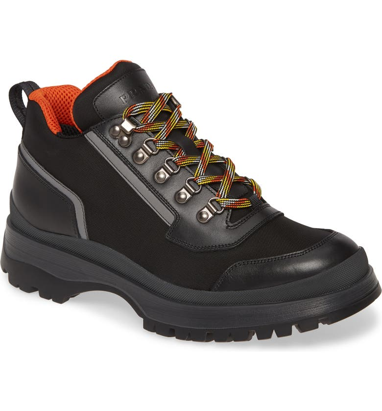 PRADA Novo Hiking Boot, Main, color, NERO/ ARANCIO