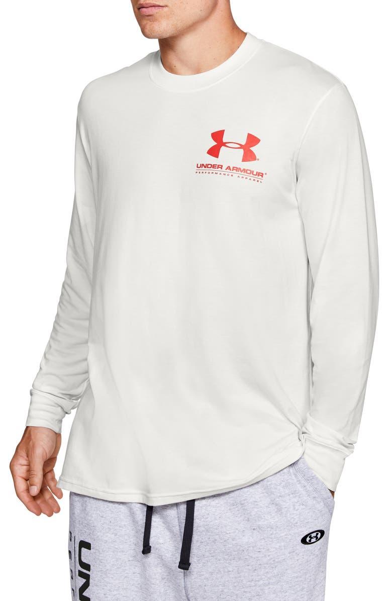 UNDER ARMOUR Originators Long Sleeve Performance T-Shirt, Main, color, ONYX WHITE/ MARTIAN RED