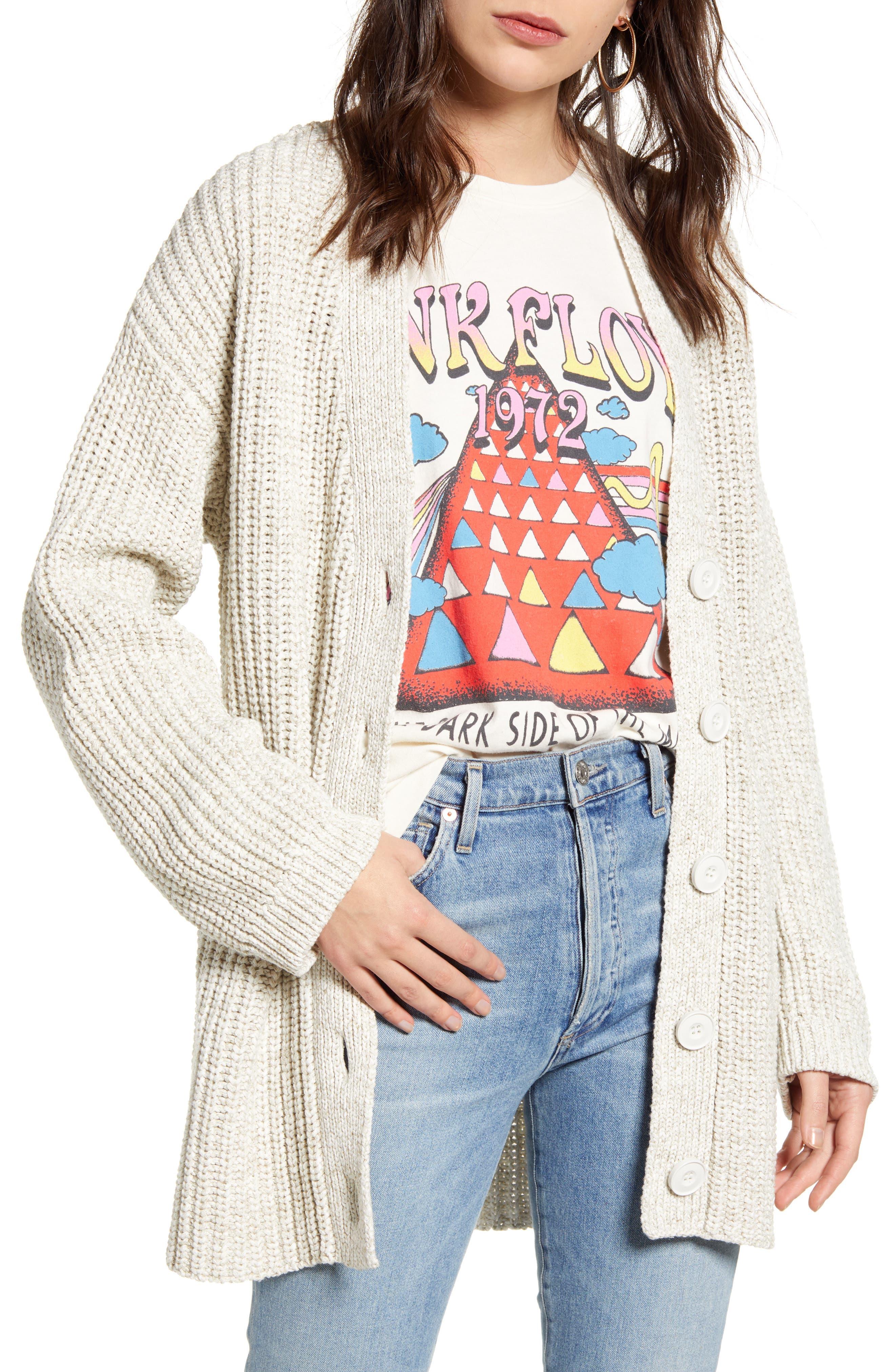 Treasure & Bond Shaker Stitch Cotton Blend Cardigan