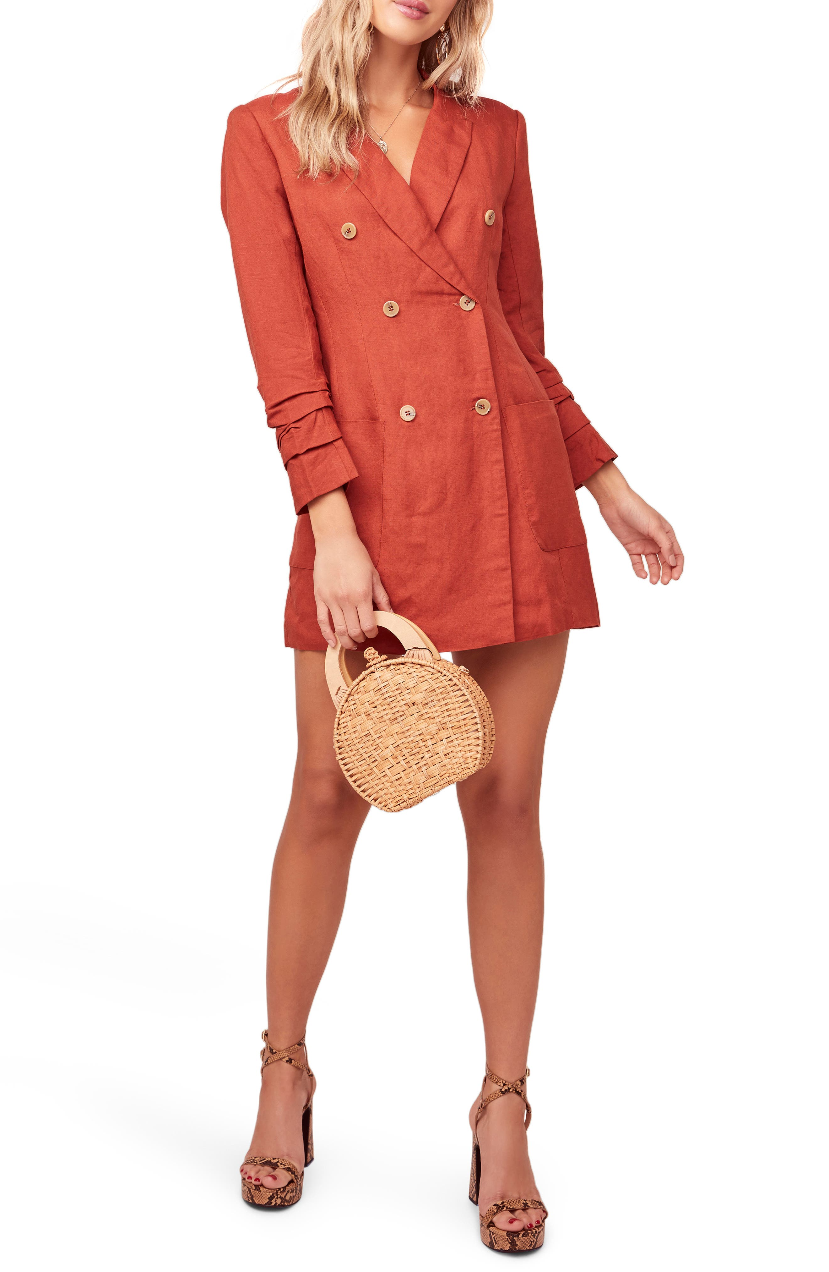 Astr The Label Verona Long Sleeve Linen Blend Blazer Minidress, Red