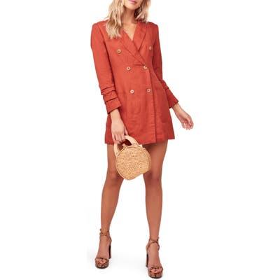 Astr The Label Verona Long Sleeve Linen Blend Blazer Minidress, Red