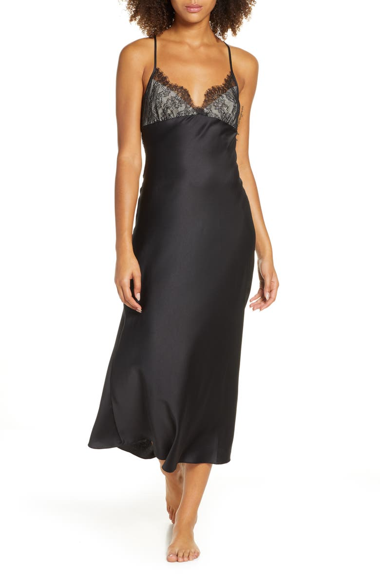RYA COLLECTION Graceful Charmeuse & Lace Nightgown, Main, color, BLACK