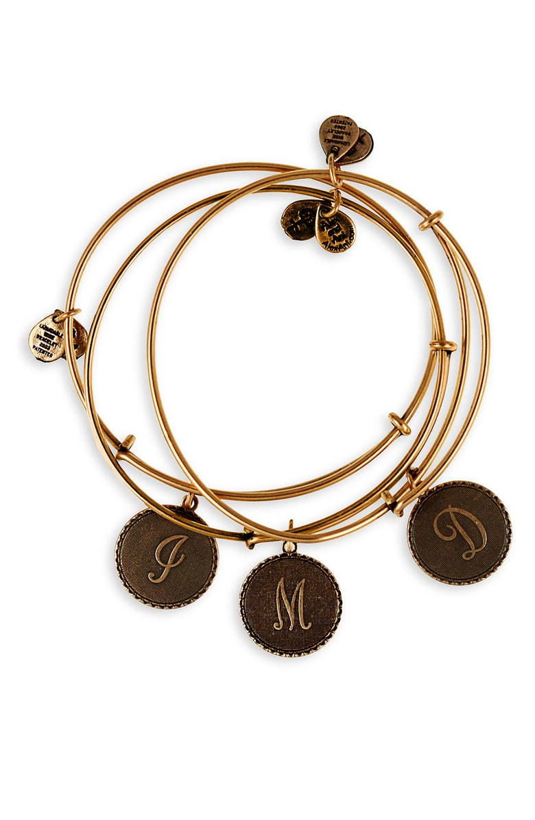 ALEX AND ANI Script Initial Expandable Wire Bangle, Main, color, 001