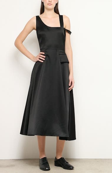 Nia One-Shoulder Bonded Satin Midi Dress, video thumbnail