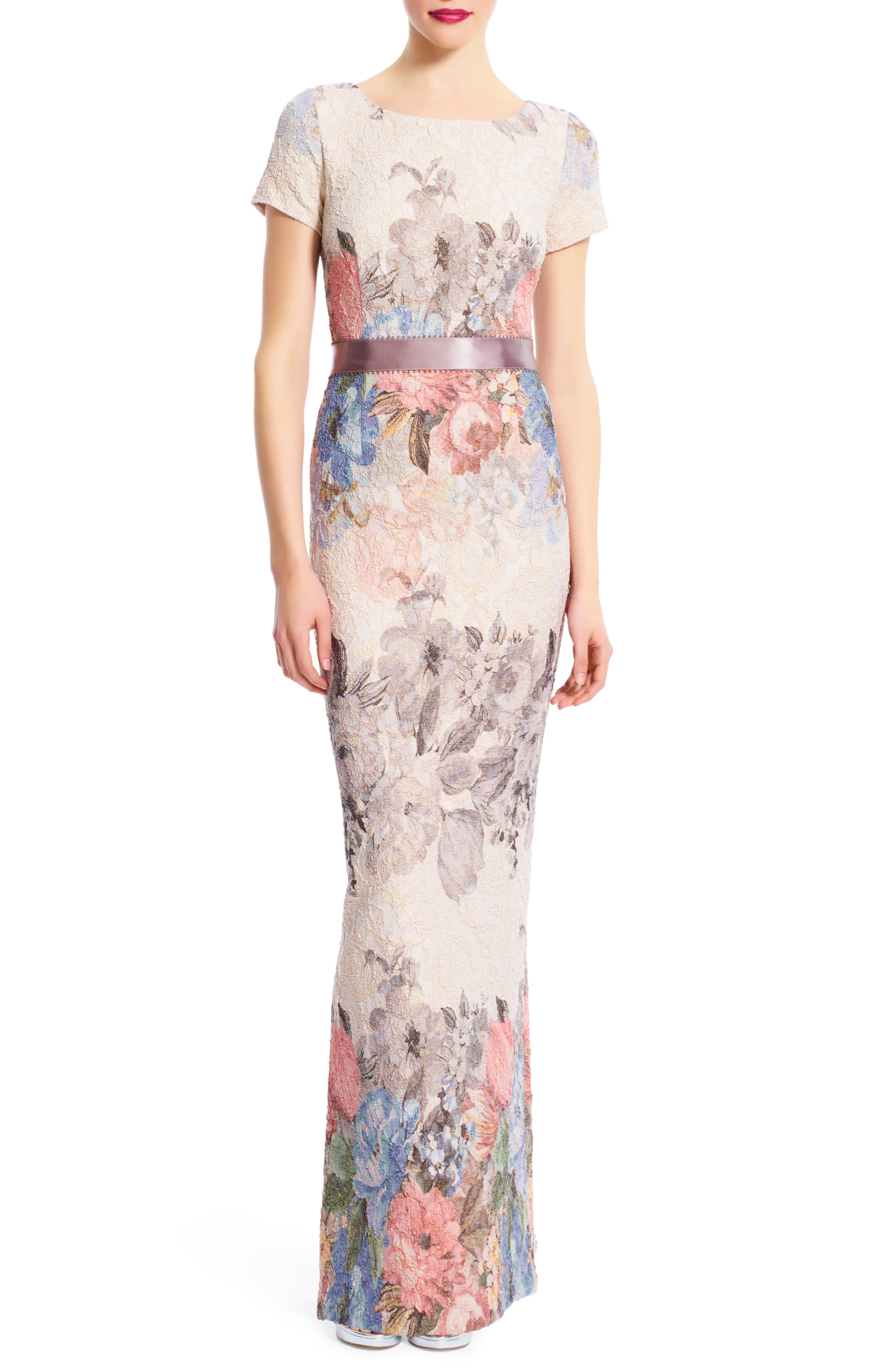 Matelasse Floral Jacquard Column Gown