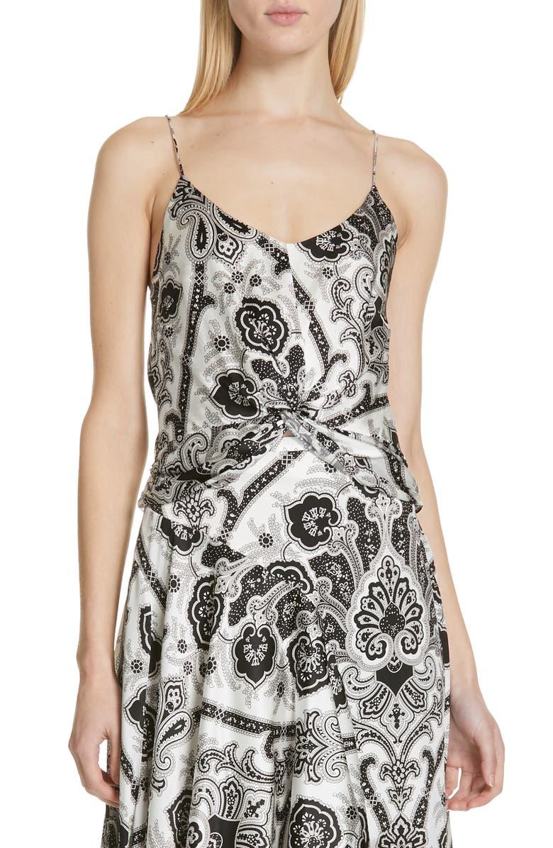CAROLINE CONSTAS Twist Front Silk Camisole, Main, color, 100