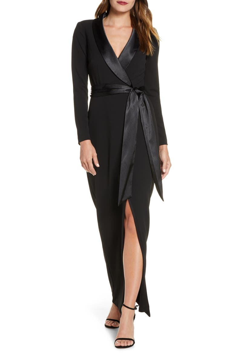 ELIZA J Tuxedo Faux Wrap Long Sleeve Gown, Main, color, BLACK