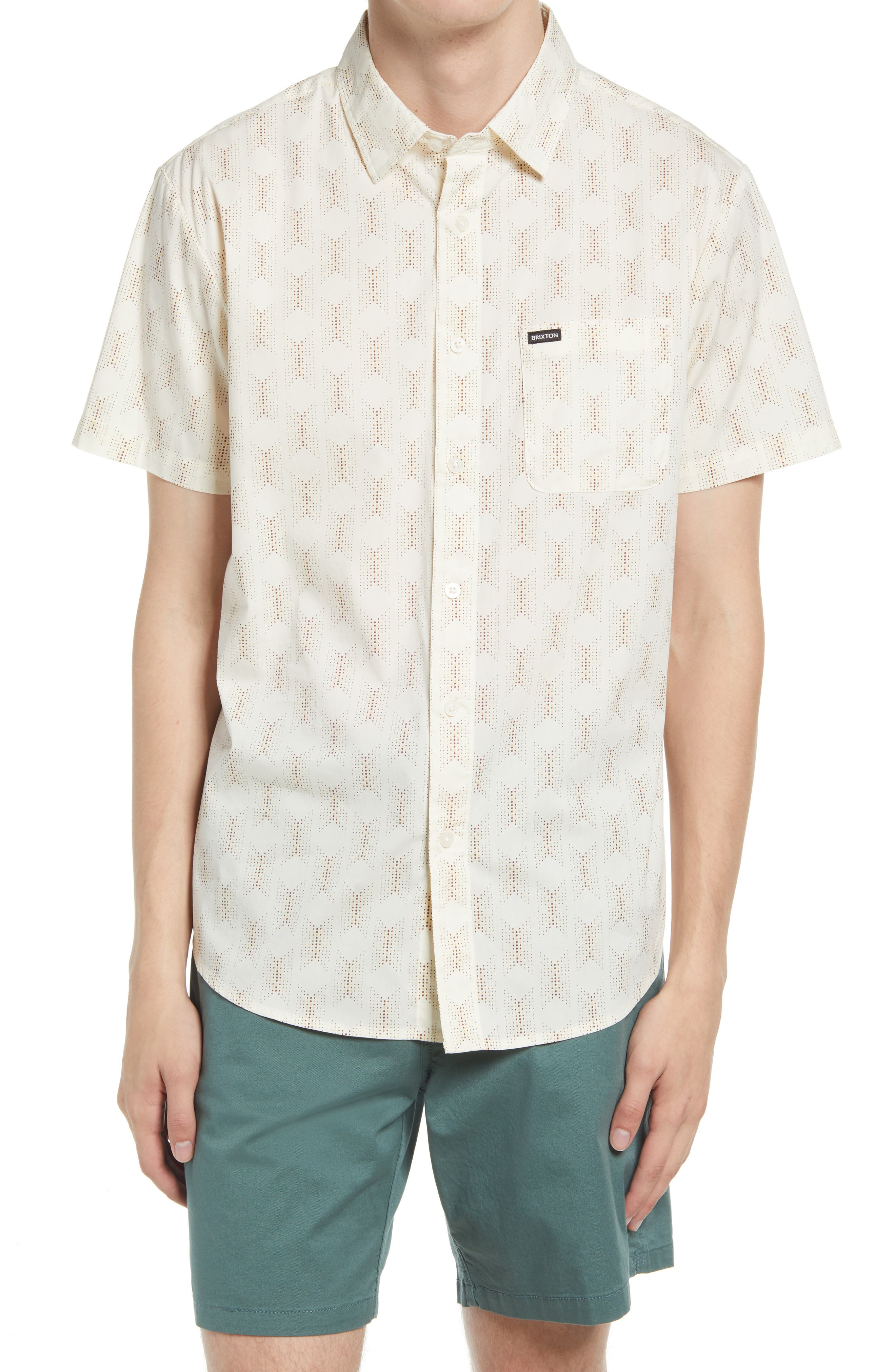 Chart Slim Fit Short Sleeve Stretch Button-Up Shirt