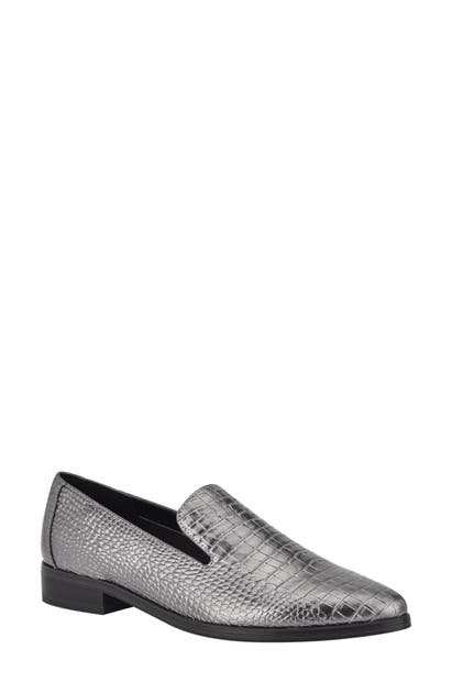 Nine West Loafers ZOLEE CROC EMBOSSED FAUX LEATHER LOAFER