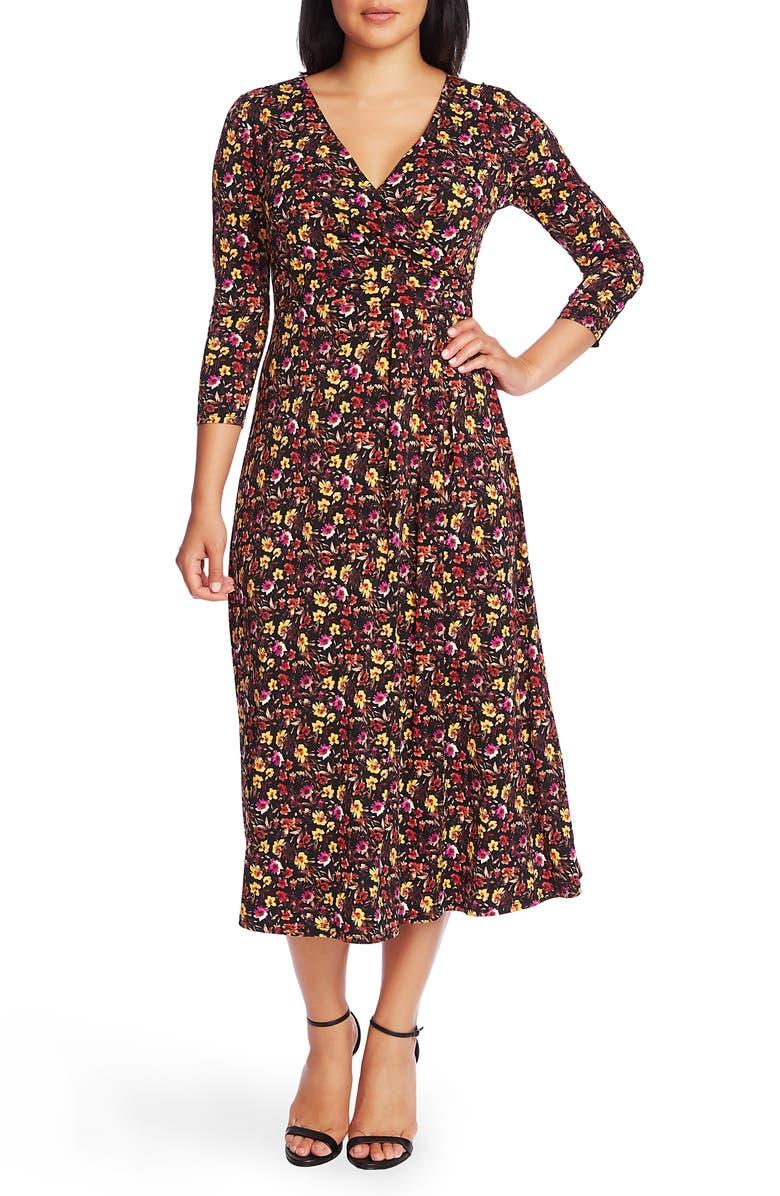 CHAUS Mountain Blossom Ruched Waist Midi Dress, Main, color, RICH BLACK