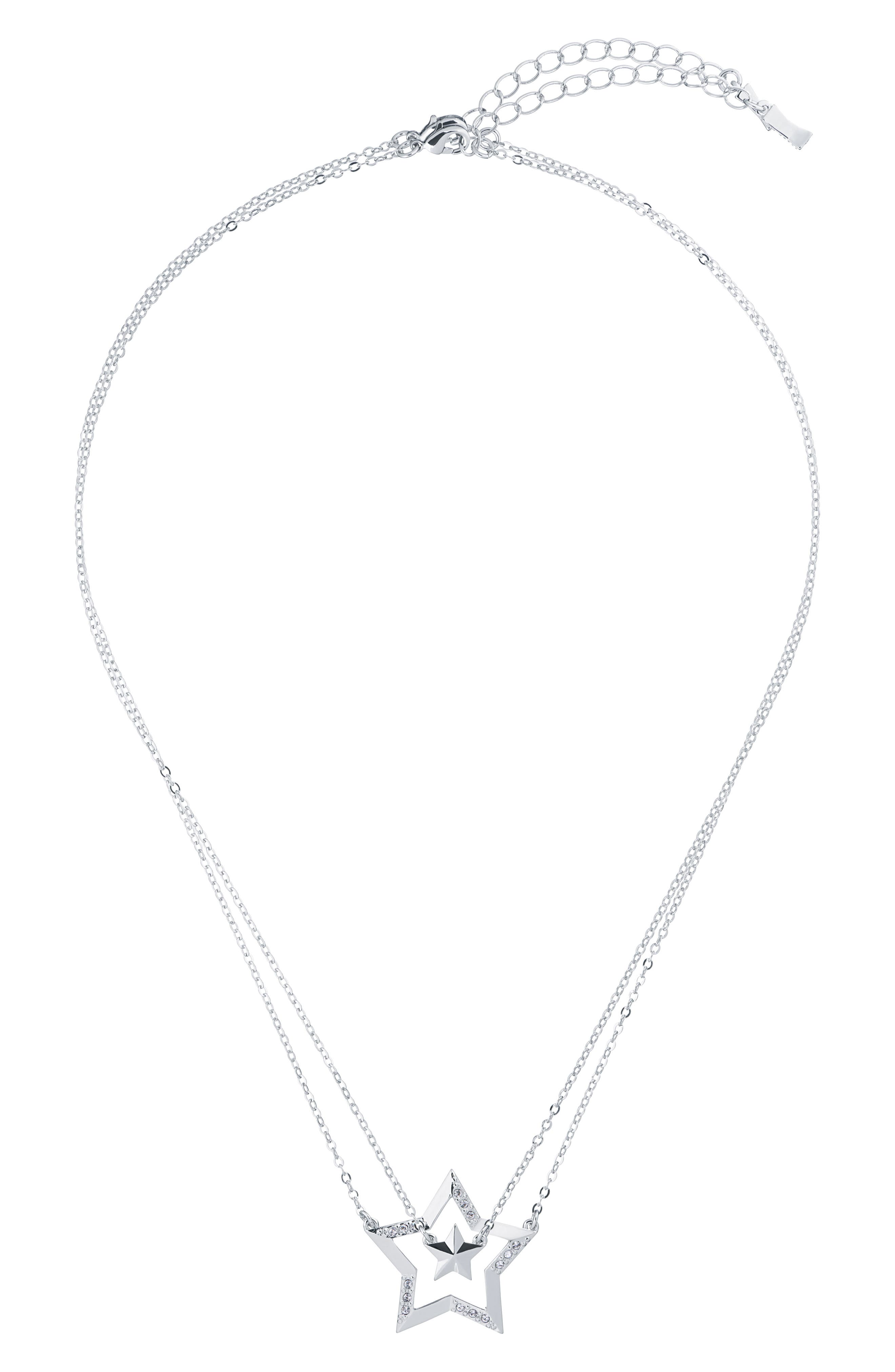 ,                             Idolina Interstella Double Pendant Set of 2 Layered Necklaces,                             Alternate thumbnail 3, color,                             SILVER/ CRYSTAL