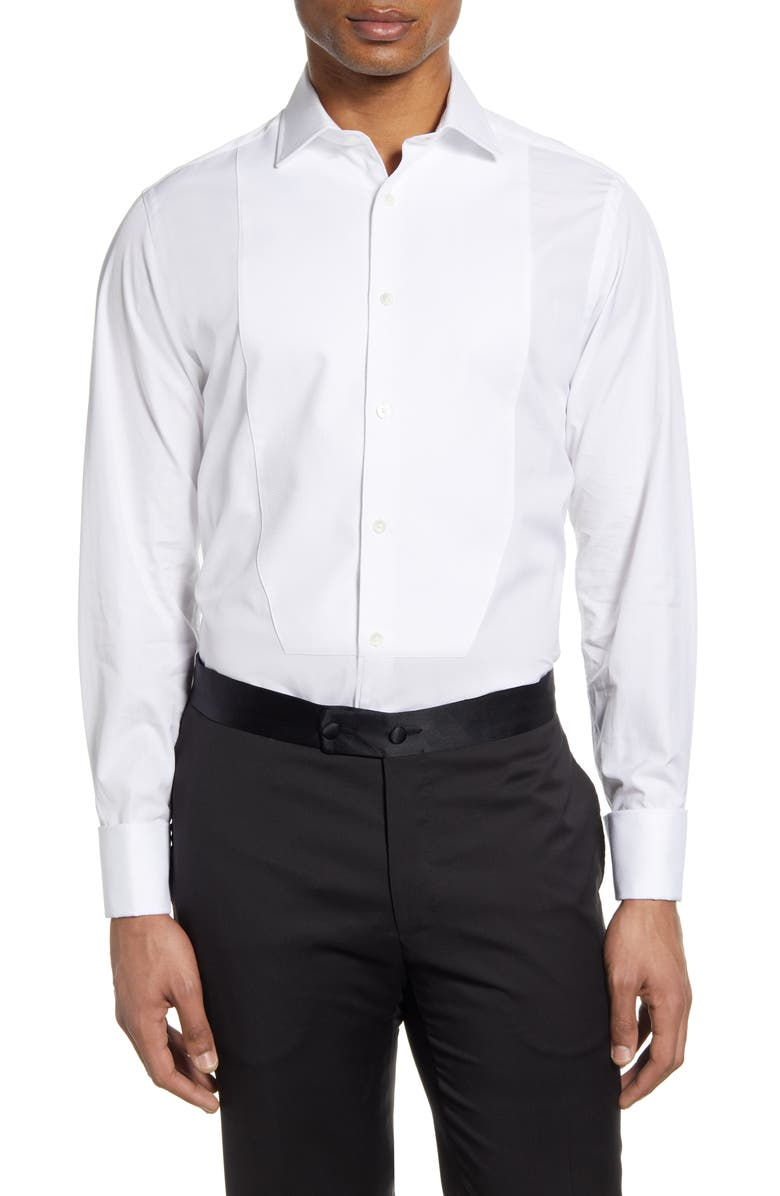 THOMAS PINK Slim Fit Tuxedo Shirt, Main, color, WHITE