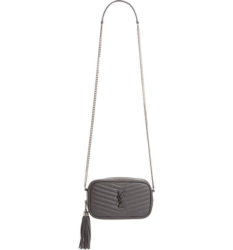 SAINT LAURENT Lou Mini Matelassé Leather Camera Bag, Main, color, ASPHALT
