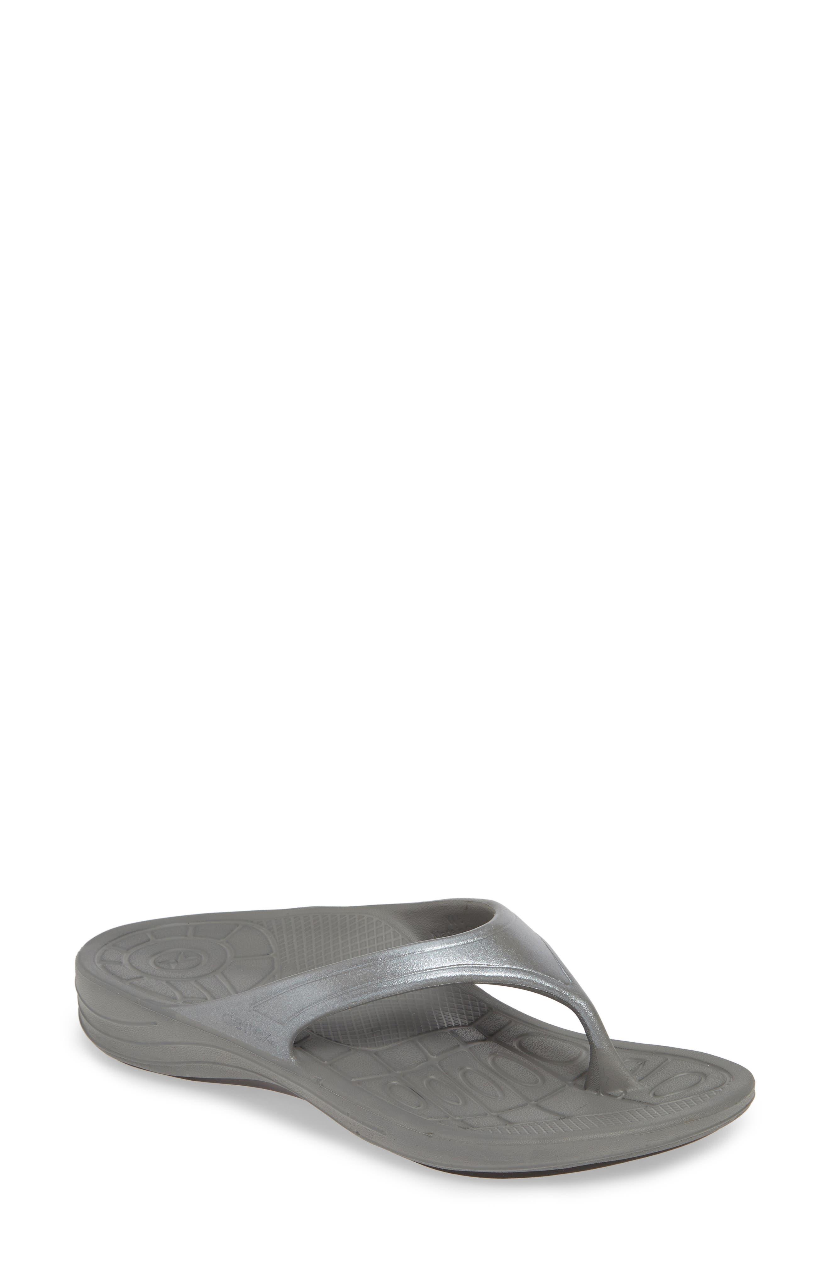 Aetrex Fiji Flip Flop, Grey