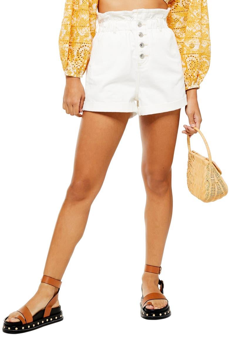 TOPSHOP Paperbag Denim Shorts, Main, color, WHITE