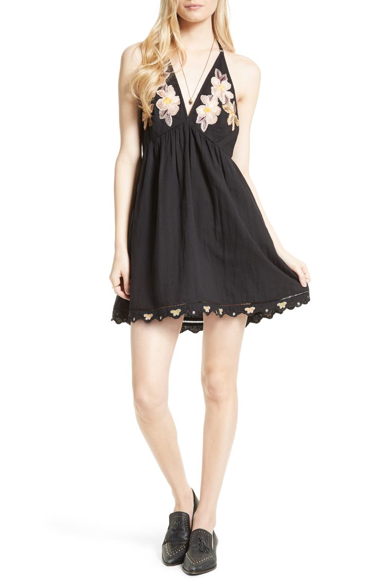 FREE PEOPLE Love Flowers Halter Minidress, Main, color, 001
