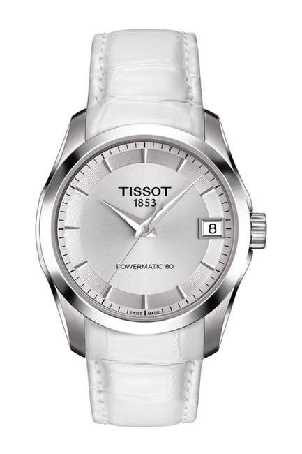 Image of Tissot Women's Couturier Croc Embossed Leather Strap Watch, 32mm