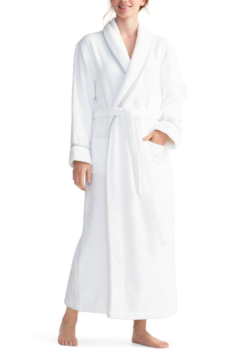THE WHITE COMPANY Unisex Hydrocotton Robe, Main, color, WHITE/ GREY
