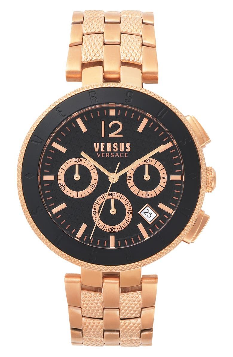 VERSUS VERSACE Versace Logo Chronograph Bracelet Watch, 44mm, Main, color, ROSE GOLD/ BLACK