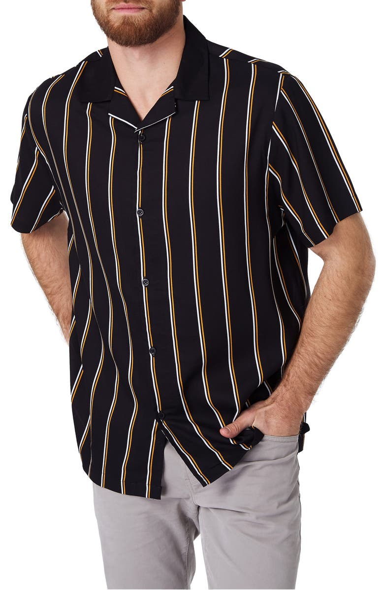 7 DIAMONDS Get Rhythm Slim Fit Stripe Camp Shirt, Main, color, 001