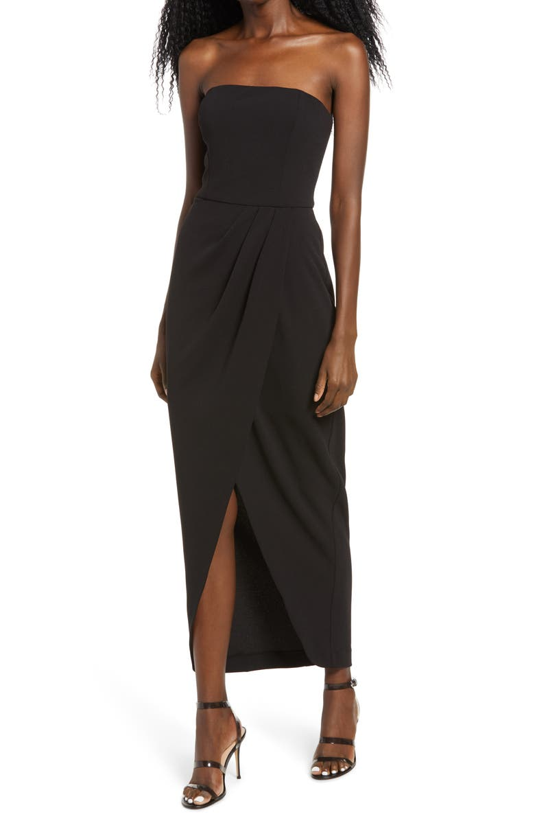 WAYF The Angelique Strapless Tulip Gown, Main, color, BLACK