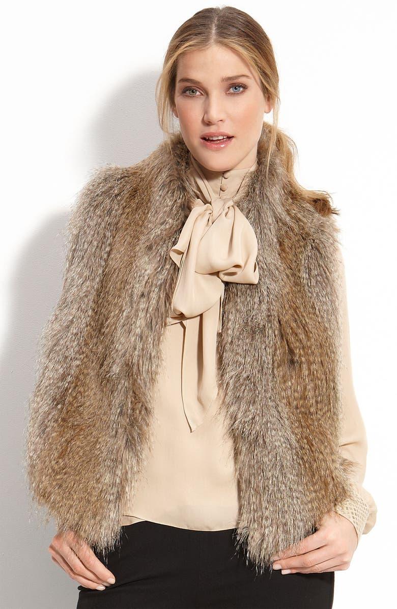 VINCE CAMUTO Faux Fur Vest, Main, color, CAMEL