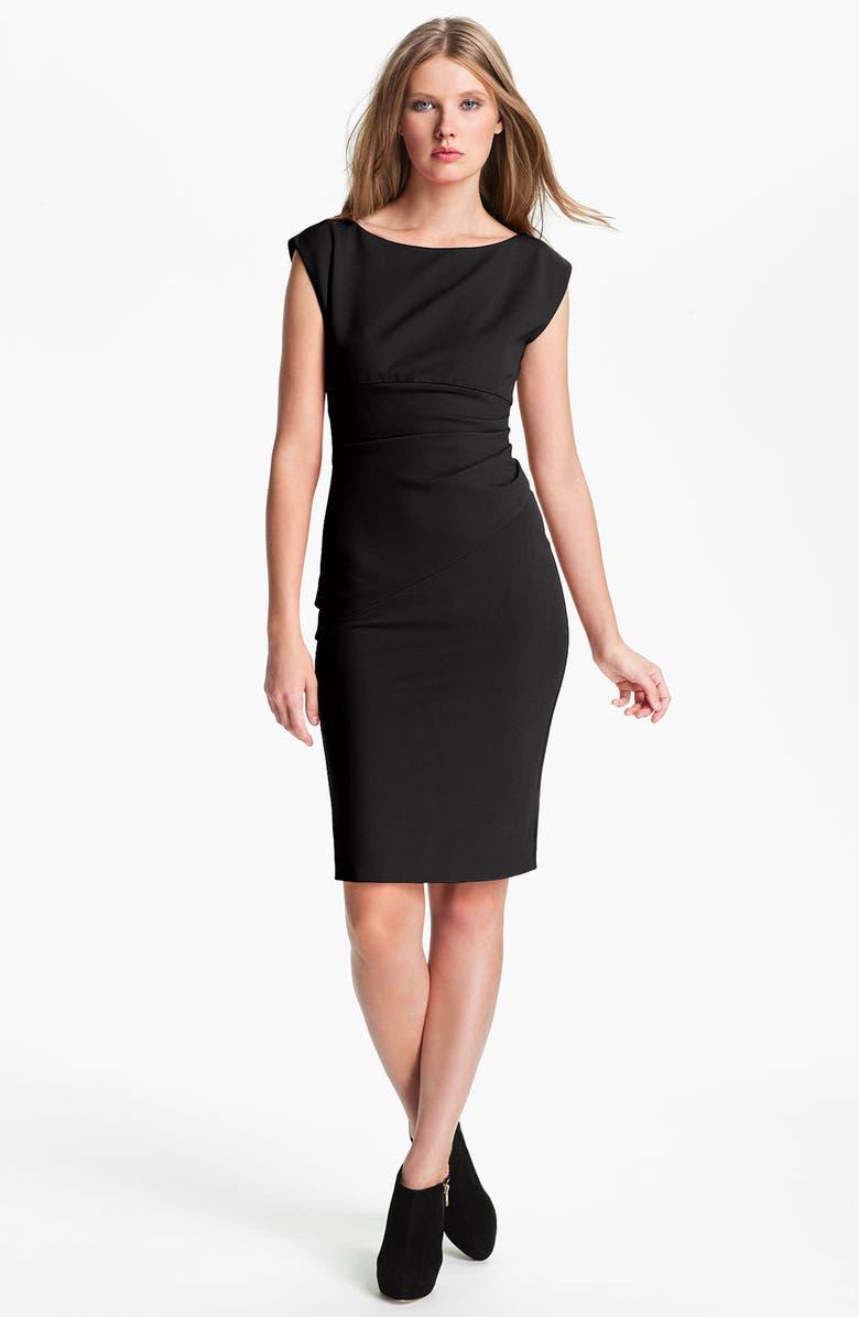 DIANE VON FURSTENBERG 'Jori' Ruched Sheath Dress, Main, color, 001