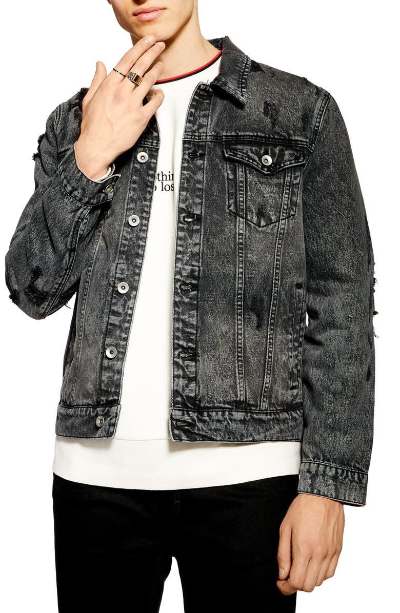 TOPMAN Distressed Denim Jacket, Main, color, WASHED BLACK