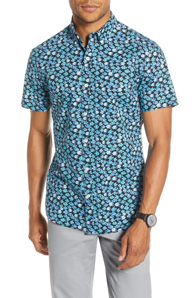 BONOBOS Slim Fit Print Short Sleeve Button-Down Shirt, Main, color, FISH TURQUOISE DIVE