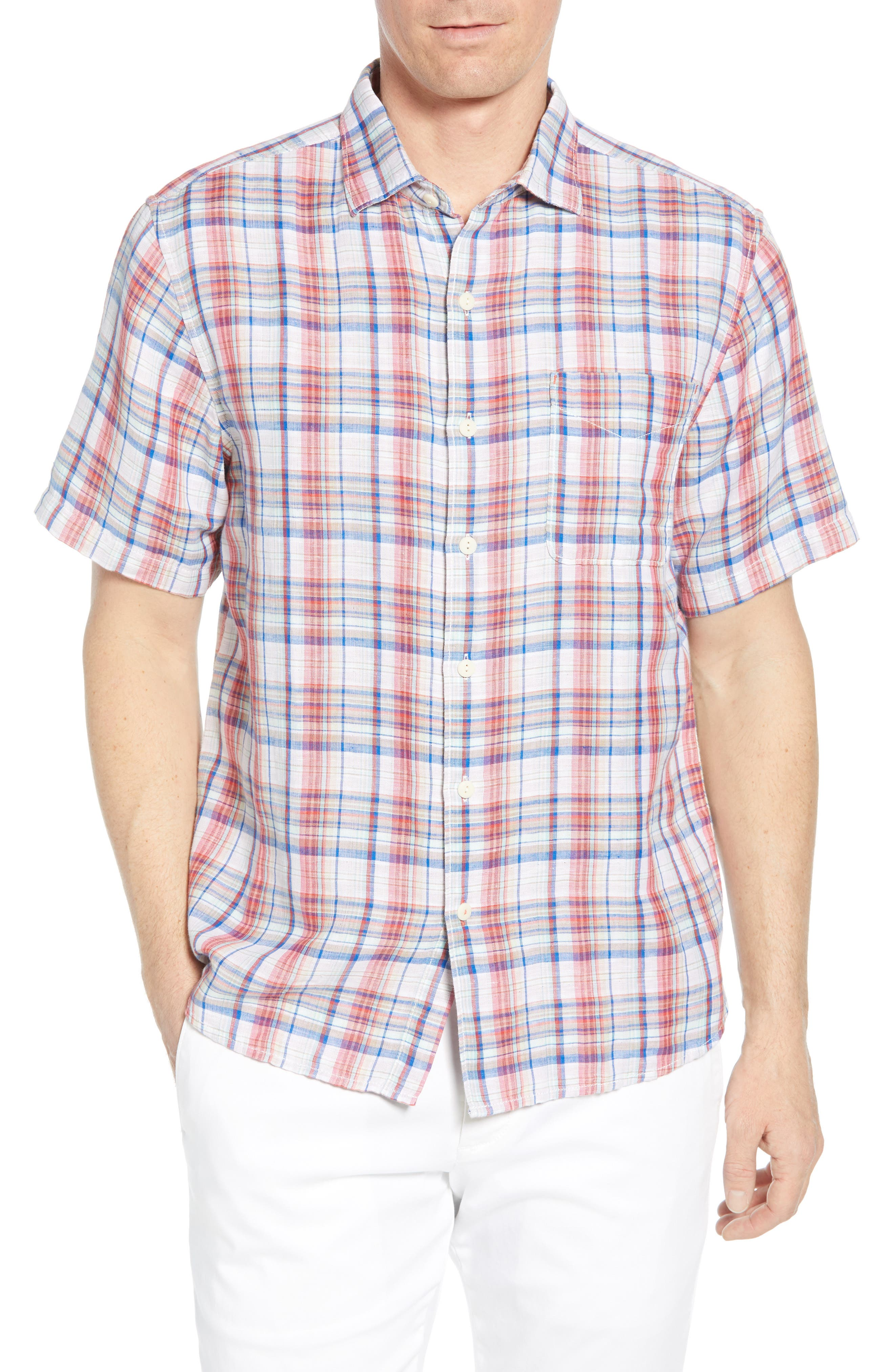 Tommy Bahama The Switch Up Classic Fit Plaid Short Sleeve Linen Blend Button-Up Sport Shirt, Orange