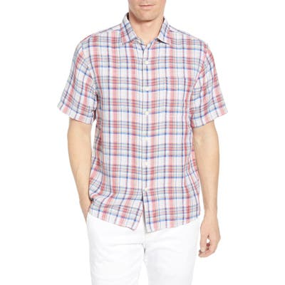 Tommy Bahama The Switch Up Classic Fit Plaid Short Sleeve Linen Blend Button-Up Shirt, Orange