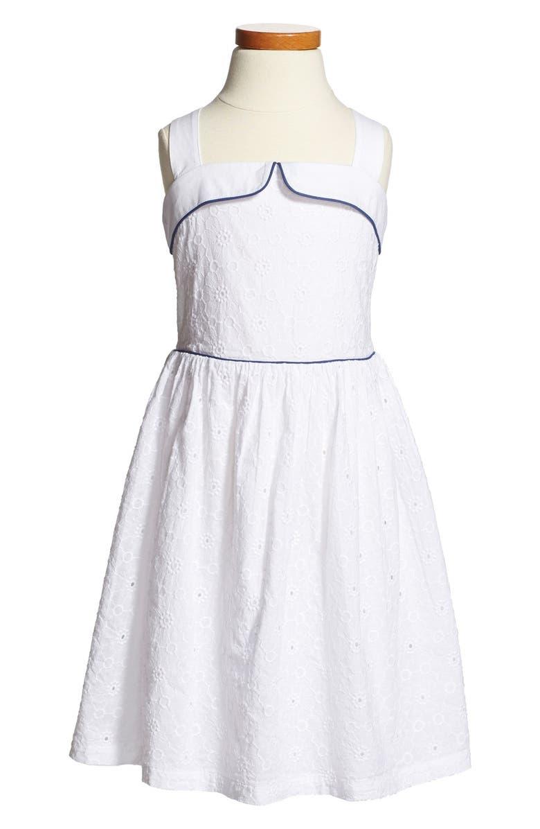 MINI BODEN 'Fifties Summer' Print Sleeveless Cotton Dress, Main, color, 100