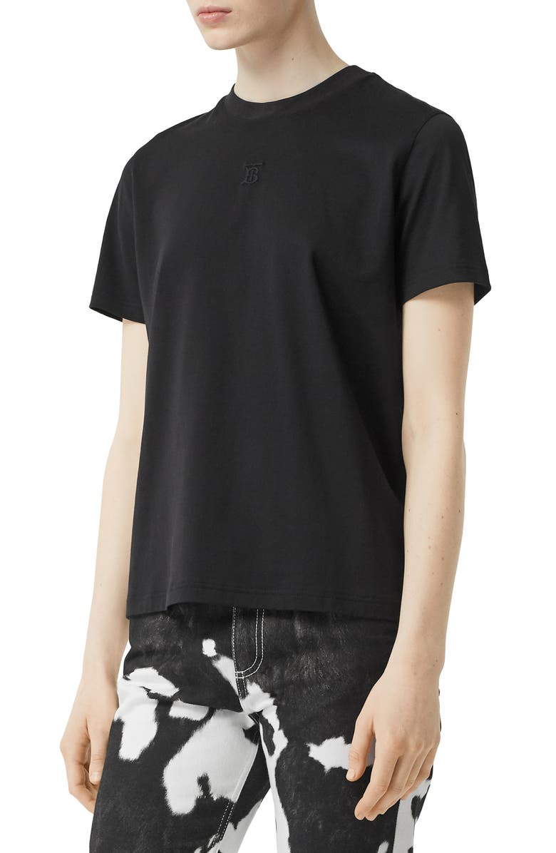 BURBERRY Dovey TB Monogram Embroidered Cotton T-Shirt, Main, color, BLACK
