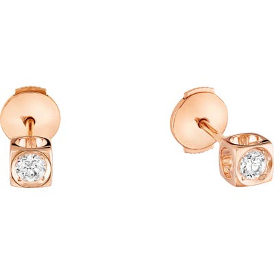 Dinh Van Le Cube Diamant 18K Gold Stud Earrings