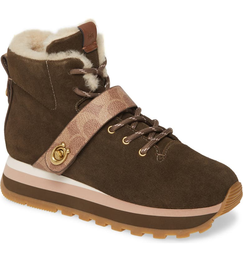 COACH Urban Hiker Faux Shearling Lined Bootie, Main, color, FATIGUE LEATHER