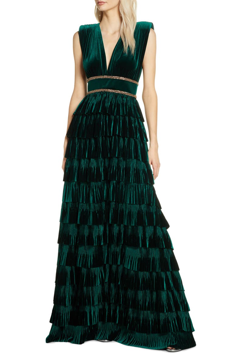 BRONX AND BANCO Velvet Tiered Evening Gown, Main, color, 301
