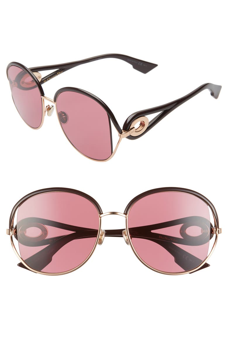 DIOR Newvolutes 57mm Round Sunglasses, Main, color, VIOLET/ PINK