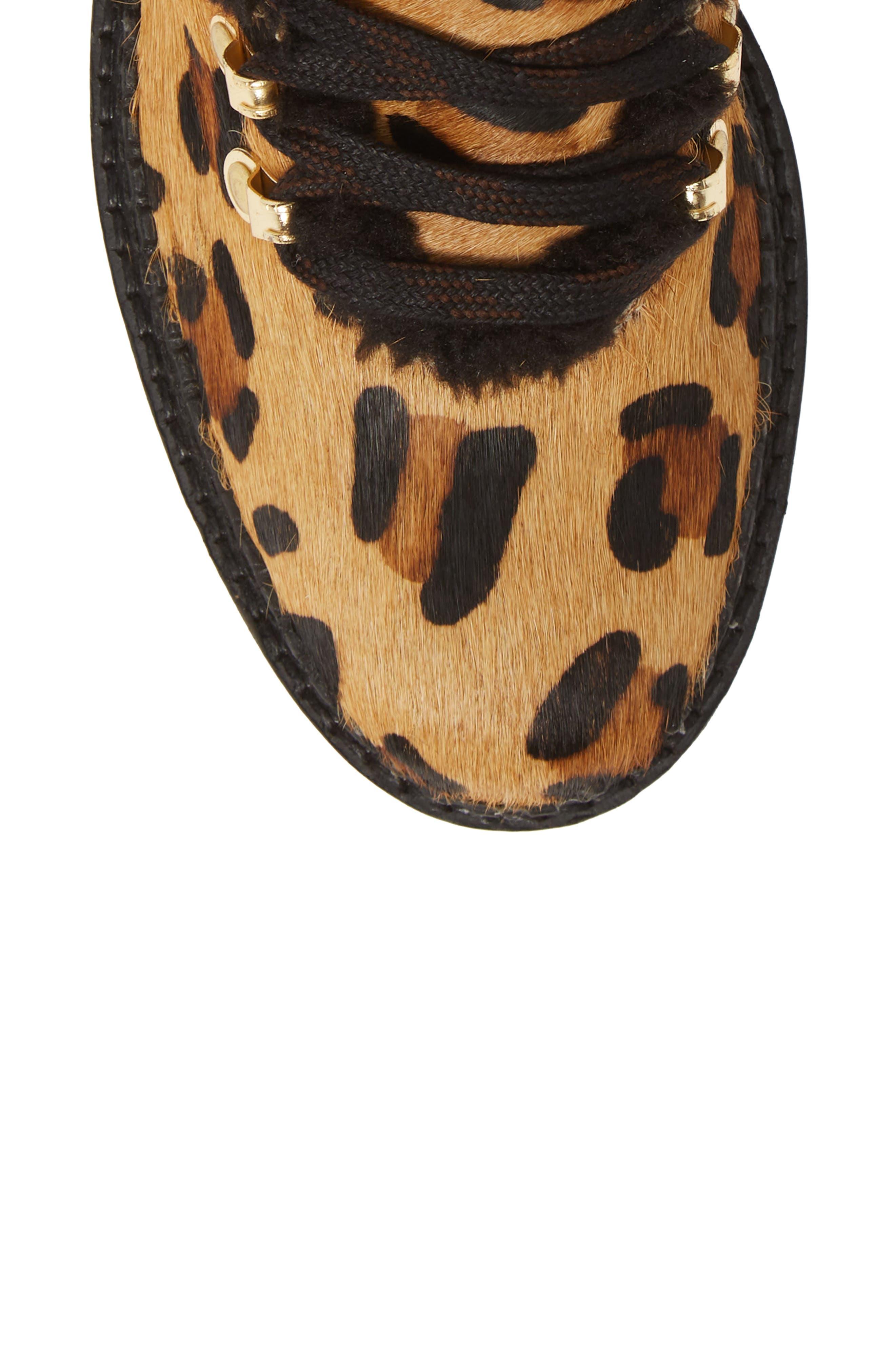 ,                             Tonkin Genuine Calf Hair Hiker Boot,                             Alternate thumbnail 5, color,                             BLACK LEOPARD LEATHER