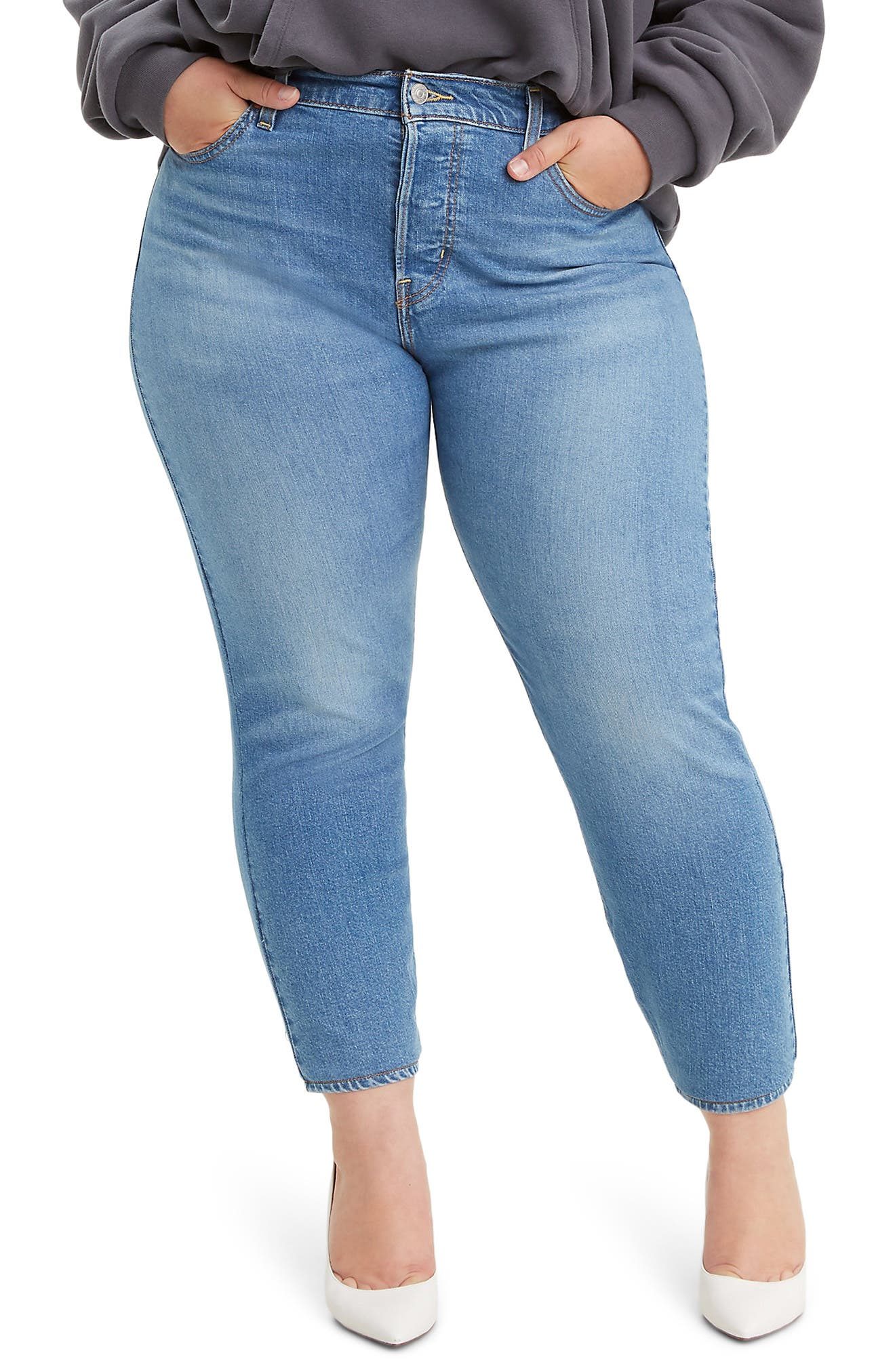 Inspired by vintage Levi\\\'s, these high-waist stretch-denim jeans hug the waist and hips to showcase your curves to greatest effect. Style Name: Levi\\\'s Wedgie High Waist Ankle Skinny Jeans (Jive Sound) (Plus Size). Style Number: 5951911. Available in stores.