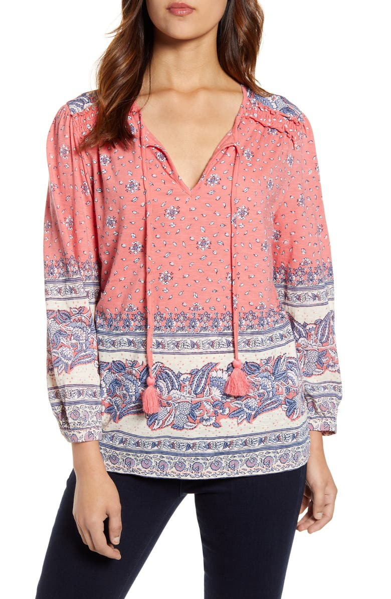LUCKY BRAND Border Print Cotton Knit Peasant Top, Main, color, PINK MULTI