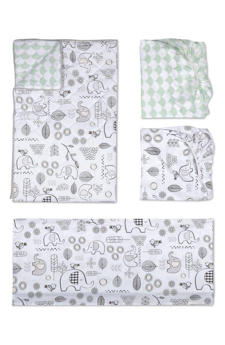 LIVING TEXTILES Elle Elephant 4-Piece Crib Bedding Set, Main, color, 100