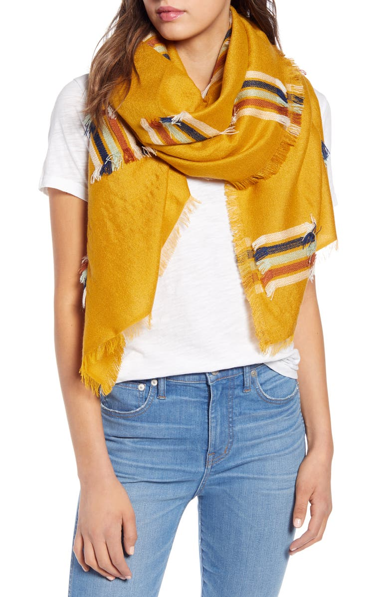 MADEWELL Rainbow Fringe Stripe Scarf, Main, color, 700