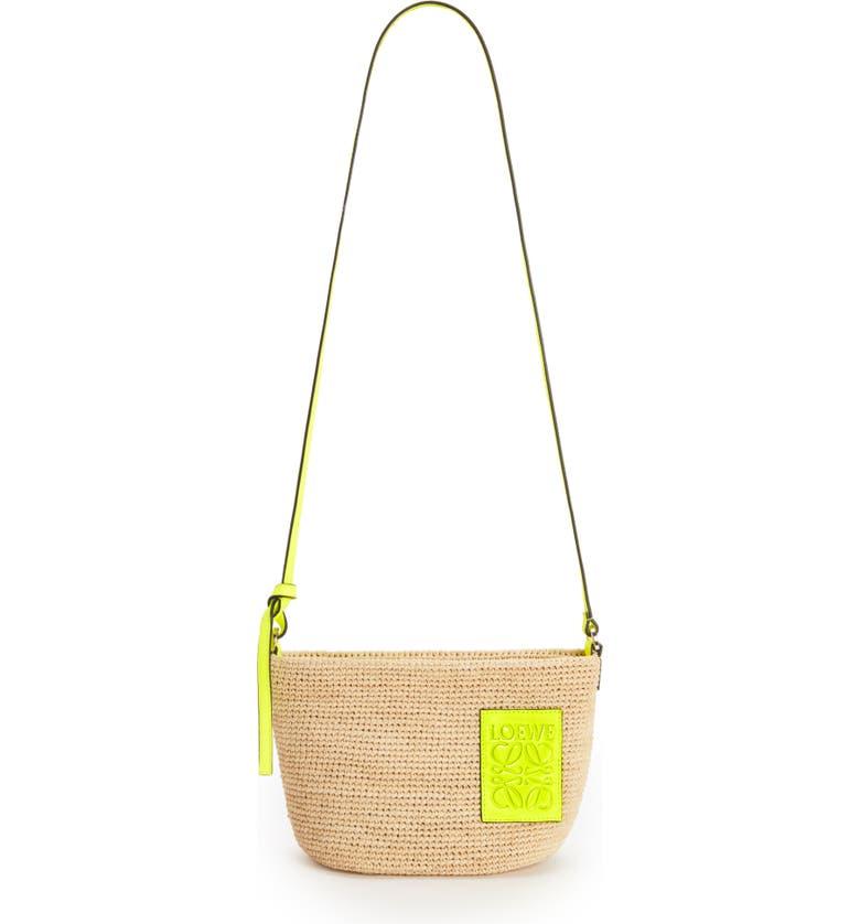 LOEWE Paula's Ibiza Pochette Raffia & Leather Shoulder Bag, Main, color, NATURAL/ NEON YELLOW