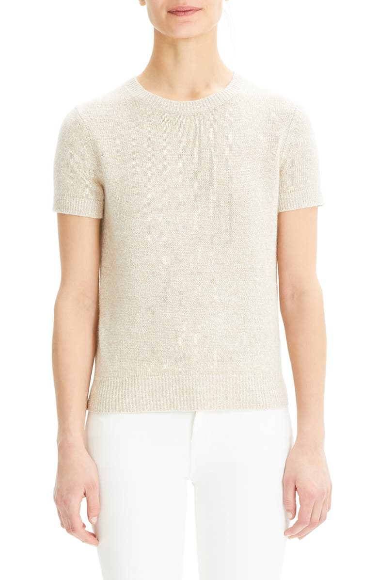 THEORY Short Sleeve Linen & Cashmere Sweater, Main, color, FLAX