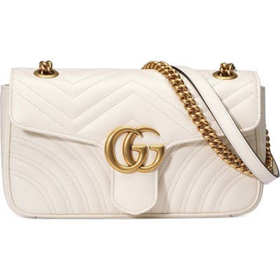 Gucci Small Matelasse Leather Shoulder Bag - White