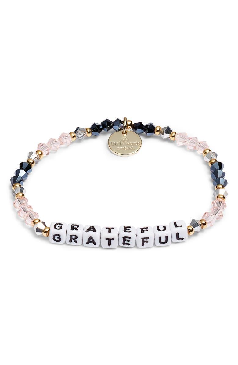 LITTLE WORDS PROJECT Grateful Beaded Stretch Bracelet, Main, color, BELLE GOLD