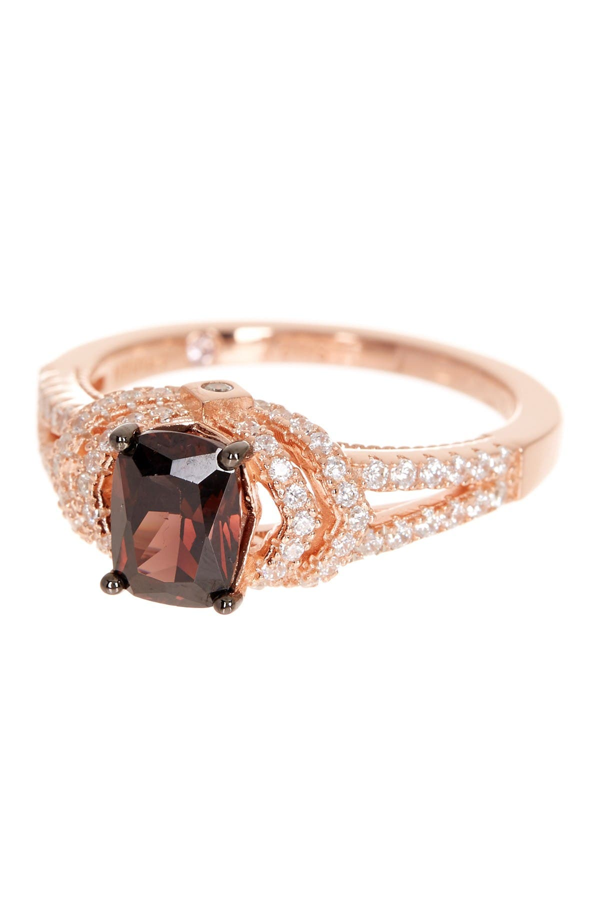 Suzy Levian Rose Gold Plated Sterling Silver Brown CZ Engagement Ring at Nordstrom Rack