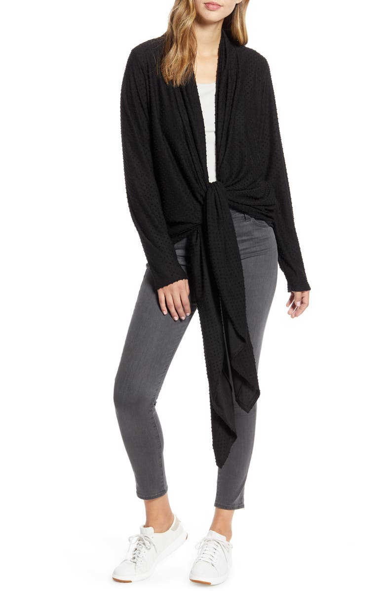 LOVEAPPELLA Drape Tie Front Cardigan, Main, color, BLACK