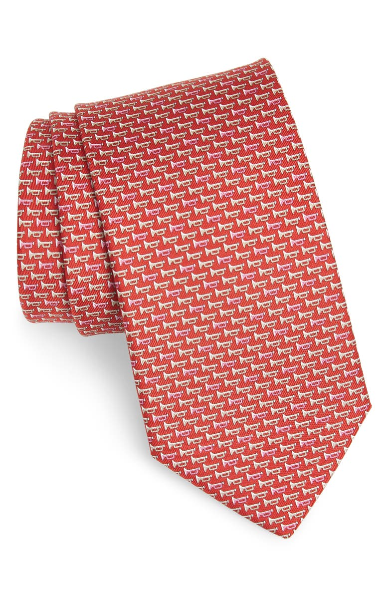 SALVATORE FERRAGAMO Idris Print Silk Tie, Main, color, F.ROSSO
